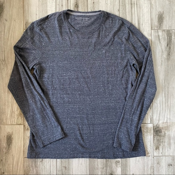 BANANA REPUBLIC Soft Wash Long Sleeve Gray T-Shirt
